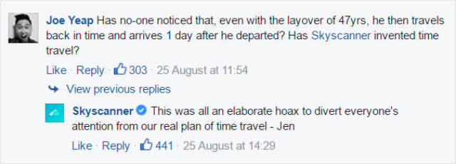 Skyscanner Has A Brilliant Response For Guy Complaining About His 47-Year Wait (13 pics)