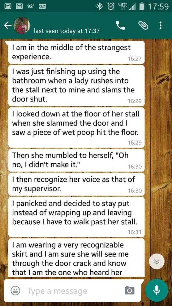 Girl Shares Awkward Story While She's Stuck In A Toilet Stall (7 pics)