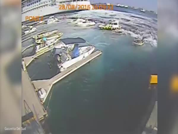 Dramatic Moment A Cruise Liner Creates Mini Tsunami And Destroys Jetty