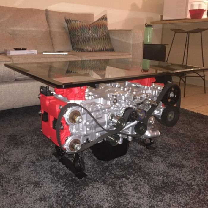 Guy Turns His Smashed Car's Engine Into An Epic Coffee Table (18 pics)