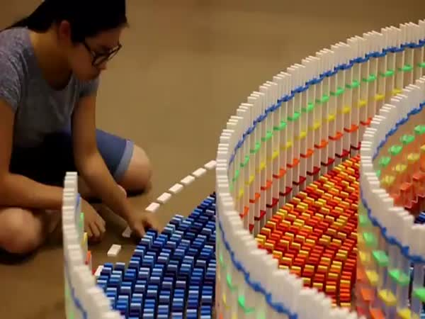 Girl Spent 25 Hours Building This Triple Domino Spiral Structure