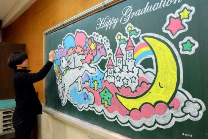 School Art Teacher Creates Incredible Drawings On A Blackboard (13 pics)