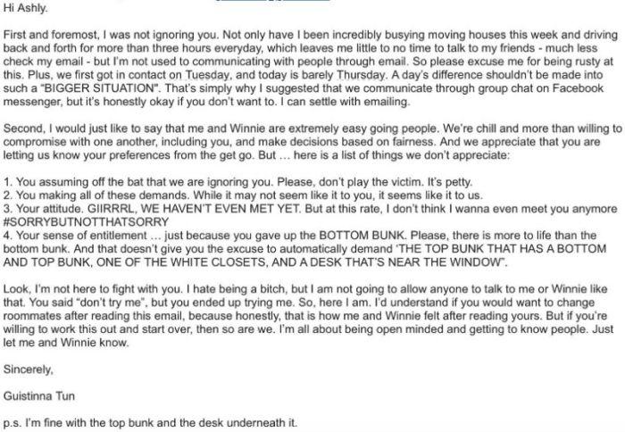 UCLA Freshmen Receives Crazy Letter From Her Roommate She Hasn't Met Yet (4 pics)