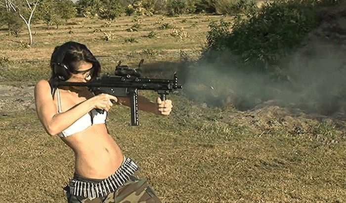 There Is Something  Sexy About Hot Girls Shooting Big Guns (20 gifs)