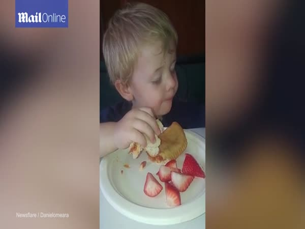 Toddler Battles To Stay Awake To Eat His Dessert