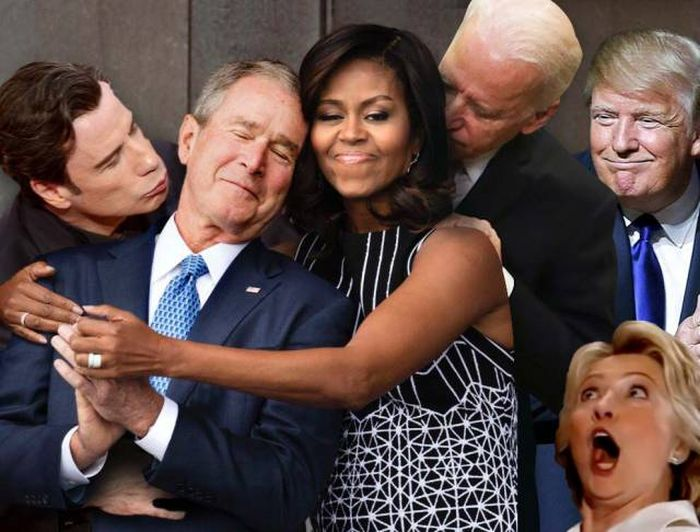 A Photoshop Battle Ensued Shortly After Michelle Obama Hugged George W. Bush (19 pics)