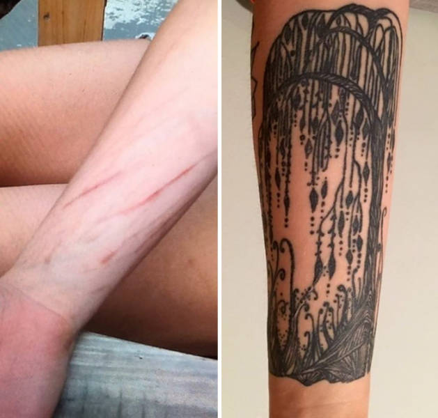 Amazing Tattoos That Covered Up Scars With Interesting Stories (34 pics)