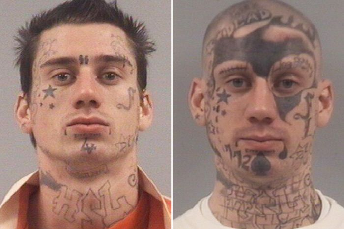 Serial Offender Progressively Covers His Face With Tattoos Over 7 Years (5 pics)