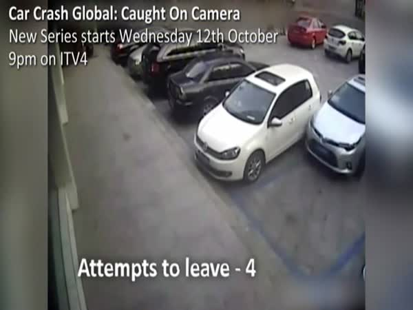 Driver Hits Car 15 Times While Trying Get Out Parking Space