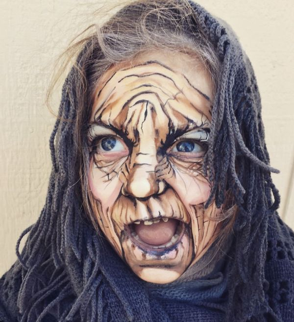 Artist Uses Makeup To Turn A 3 Year Old Into An Old Lady (5 pics)
