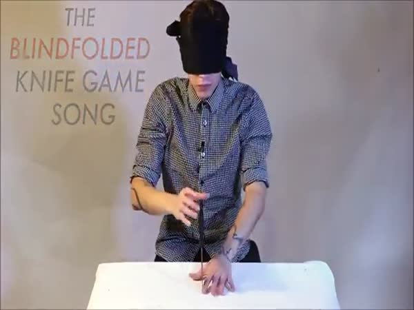 Crazy Dude Plays The Knife Game Blindfolded