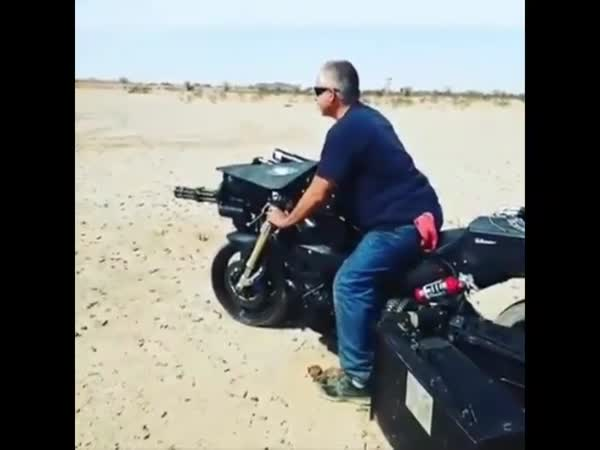 Insane Dude Mounted A Minigun On A Motorcycle