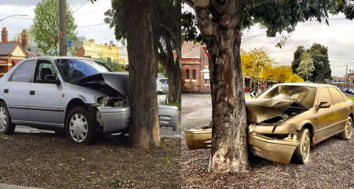 Crashed Car Randomly Gets A Golden Makeover (4 pics)