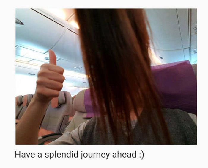 What It's Like To Sit Behind A Long Haired Passenger On An Airplane (6 pics)