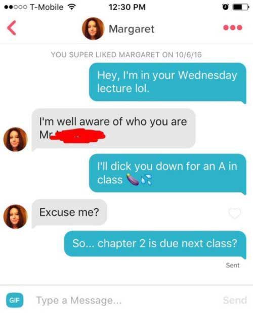 Guy Tries To Get An A After Matching Up With His Teacher On Tinder (2 pics)