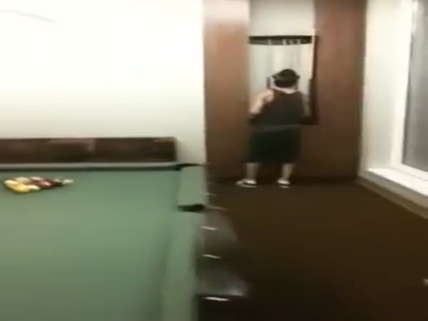 Genius Knocks Himself Out When Pool Stick Breaks In Half
