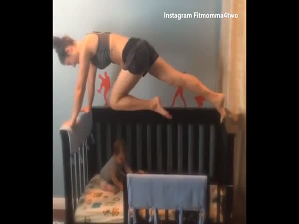 Mum Of Two Has Been Criticised Online After She Uploaded A Video Of Her Working Out While Balancing Over The Bed Her Tot Was In