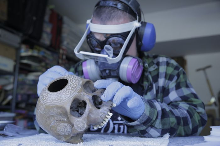 Meet The Man That Turns Human Skulls Into Art (14 pics)