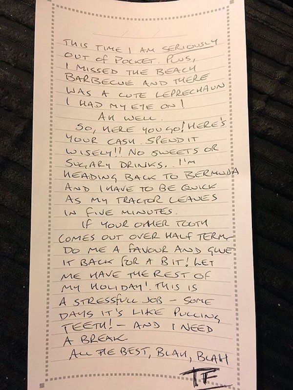 Dad Pens Adorable Letter From The Tooth Fairy To His Daughter (2 pics)