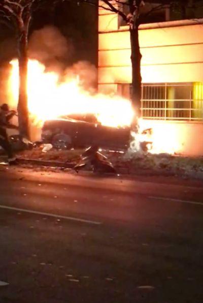Tesla Turns Into A Massive Fireball After Brutal Crash (3 pics + video)