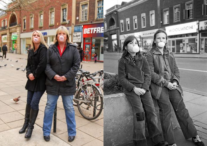 Amateur Photographer Recreates Old Photos With The Same People (16 pics)