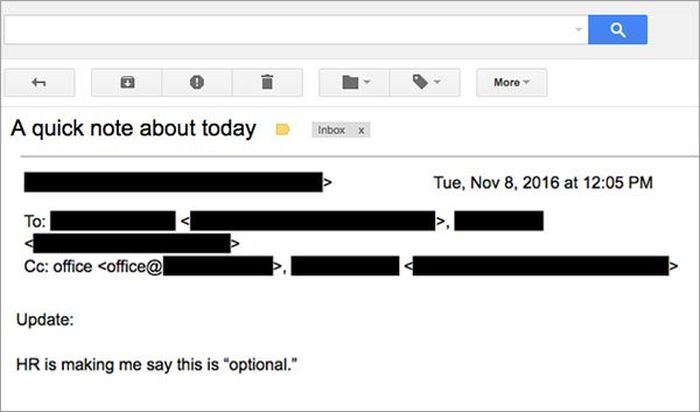 Boss Sends Out Epic Memo On Election Day (2 pics)