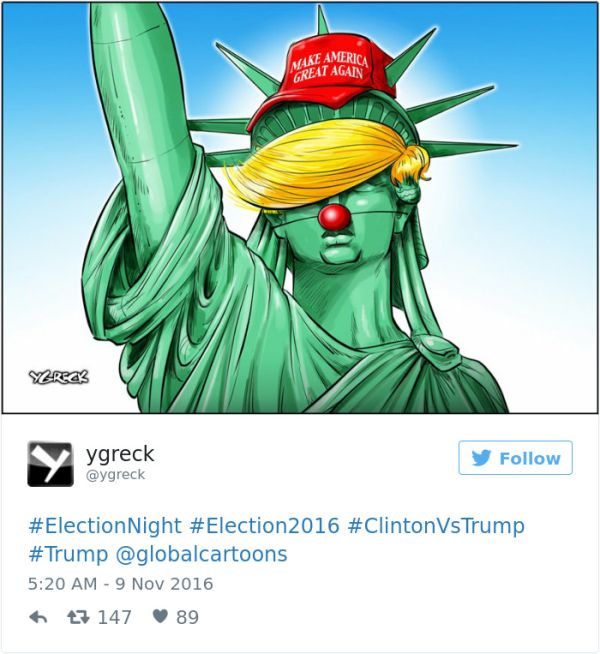 Cartoonists Around The World React To Donald Trump Becoming President (41 pics)