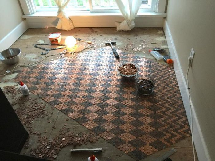 Woman Covers Her Entire Floor In Pennies (13 pics)