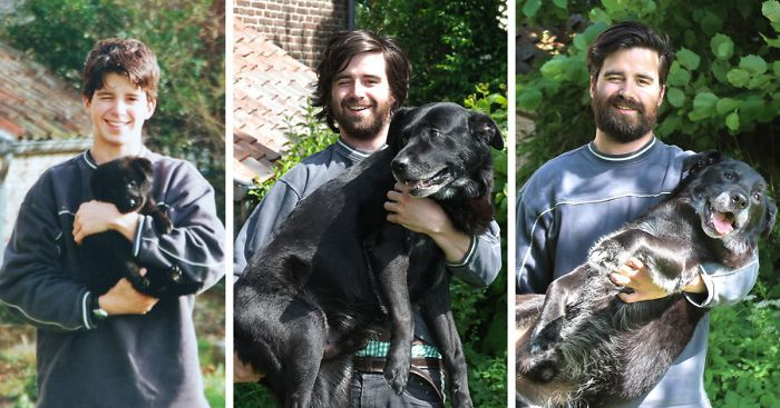Before And After Pics Of Dogs Growing Up With Their Owners (35 pics)
