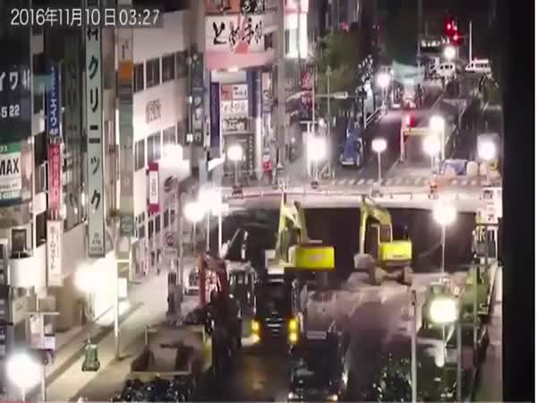 Massive Japanese Sinkhole Being Fixed Just Two Days After Road Collapsed