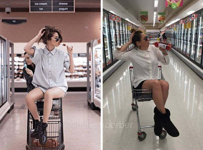 Woman Hilariously Recreates Celebrity Instagram Photos (40 pics)