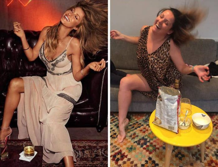 Woman Hilariously Recreates Celebrity Instagram Photos (40 pics)