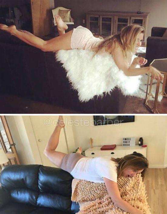 Woman Hilariously Recreates Celebrity Instagram Photos (40