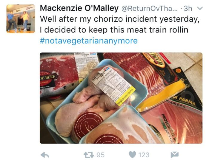 Vegetarian Has Awesome Reaction After Accidentally Eating Meat (5 pics)