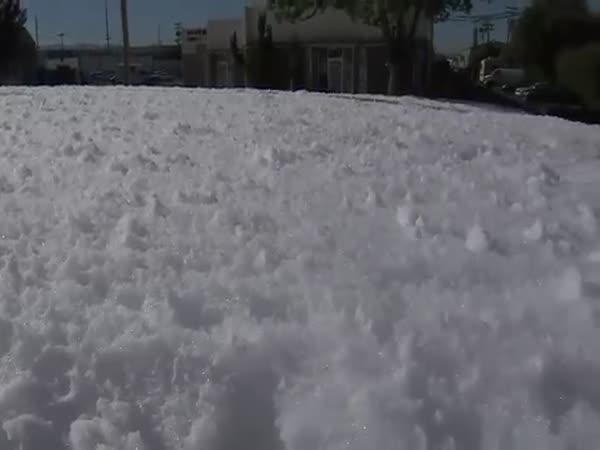 Mysterious Foam Blob Spills Into Santa Clara Street