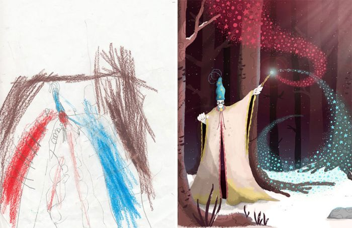 Artists Recreate Kids' Monster Doodles In Their Unique Styles (35 pics)