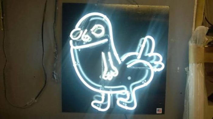 Guy Creates Cool Dick Butt Neon Sign As A Gift (27 pics)