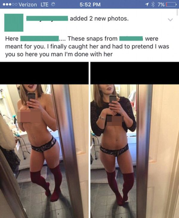 Jealous Boyfriend Uses Fake Snapchat Account To Catch Cheating Girlfriend (4 pics)
