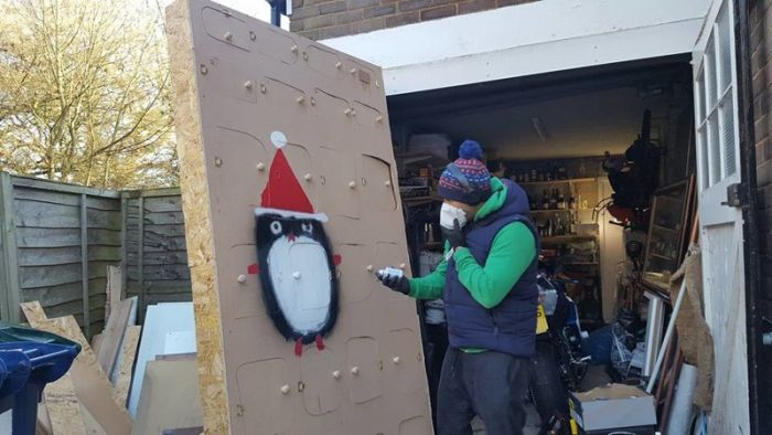 Husband Makes Wife A Giant Advent Calendar For Christmas (17 pics)