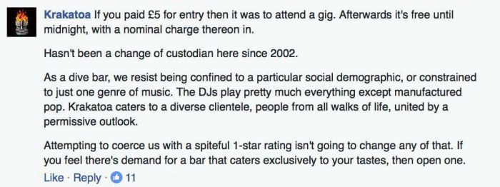 Bar Owner Puts Guy In His Place After He Leaves A One Star Review (2 pics)
