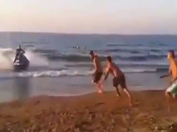 Beach Goer Is Knocked Into The Air