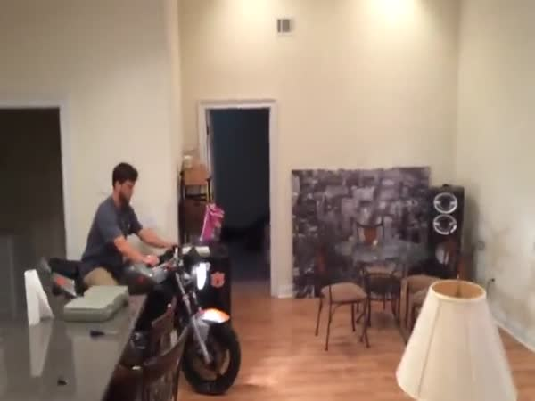 Motorcycle Wheelie In The House Fail