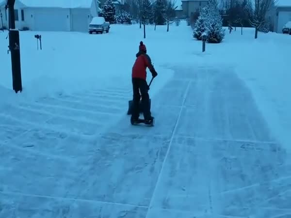 Clever Kid Uses Hoverboard Hack To Easily Plow Snow