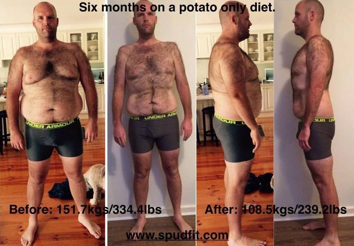 Man Goes Through Big Transformation After Committing To A Potato Diet (4 pics)