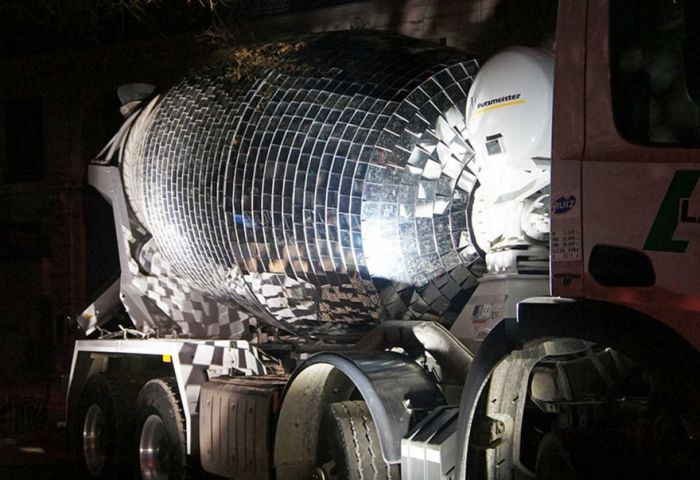 Artist Turns Cement Mixer Into Epic Giant Disco Ball (6 pics)