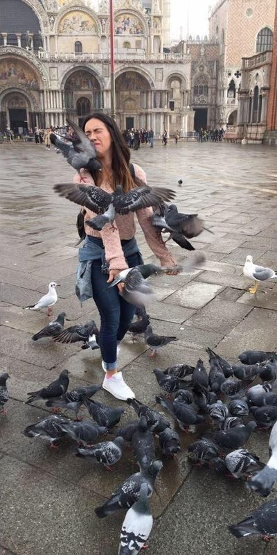 Woman Tries To Take A Photo With The Pigeons At St. Mark's Cathedral (2 pics)
