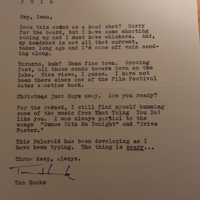 Tom Hanks Surprises Fan With An Awesome Letter (2 pics)