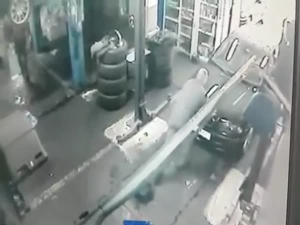 Auto Technician Falls Through Hole