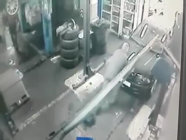 Auto Technician Falls Through Hole