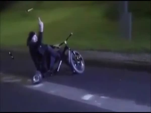 Crazy Guy Bombing Hill On Tricycle Flips Off Speed Camera